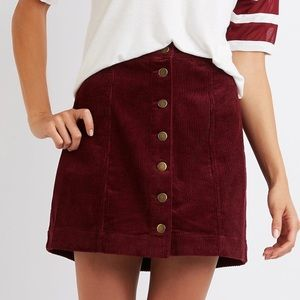 Dresses & Skirts - 3/$10 Corduroy Button front Skirt in Burgundy